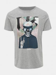 Šedé žíhané tričko Jack & Jones Skoll