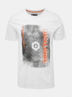 Bílé tričko s potiskem Jack & Jones CORE Sound