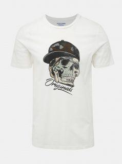 Bílé slim fit tričko s potiskem Jack & Jones Cona