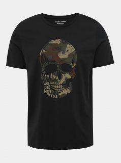 Černé slim fit tričko s potiskem Jack & Jones Cona