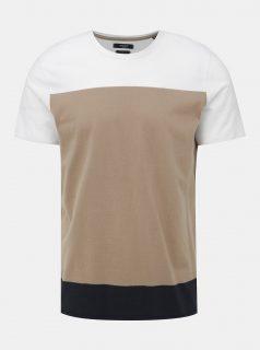 Bílo-hnědé tričko Jack & Jones Terrance