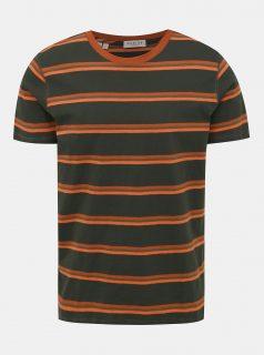 Tmavě zelené pruhované tričko Selected Homme Bruno