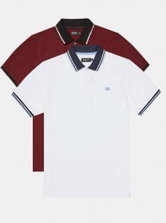 Sada dvou polo triček v bílé a vínové barvě Burton Menswear London