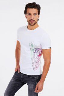 Guess bílé pánské tričko Lateral Logo