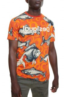 Desigual pánské oranžové tričko TS Kalman