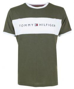 Tommy Hilfiger khaki tričko CN SS Tee Logo Flag