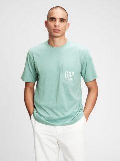 Zelené pánské tričko GAP Logo pocket t-shirt