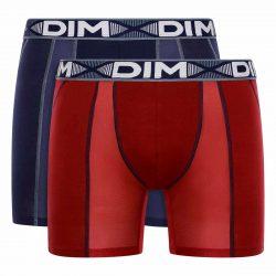 DIM 3D FLEX AIR LONG BOXER 2x – Pánské sportovní boxerky 2 ks – tmavě červená – tmavě modrá