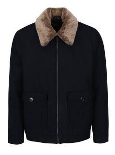 Tmavě modrá krátká vlněná bunda s límcem z umělé kožešiny Burton Menswear London