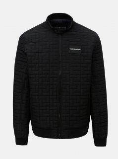 Černá pánská prošívaná bunda s nášivkou Calvin Klein Jeans