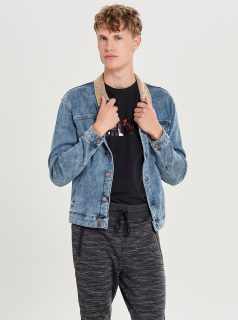 Modrá džínová bunda s hnědým límečkem ONLY & SONS Mode
