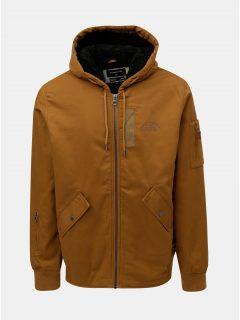 Hnědá pánská nepromokavá bunda s kapucí a zateplenou podšívkou Quiksilver Hanago