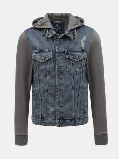 Šedo-modrá džínová bunda s mikinovými rukávy ONLY & SONS Coin