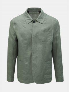 Zelená lněná lehká bunda s kapsami Selected Homme