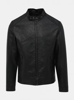 Černá koženková bunda Jack & Jones Park