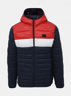 Červeno-modrá bunda Jack & Jones Bomb
