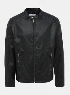 Černá koženková bunda Jack & Jones Rack