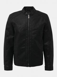 Černá koženková bunda ONLY & SONS Mike