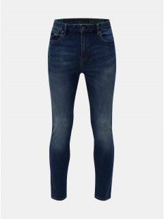 Modré pánské zkrácené slim džíny s vyšisovaným efektem Superdry Tyler