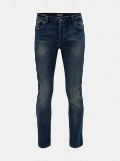 Modré slim fit džíny s vyšisovaným efektem ONLY & SONS