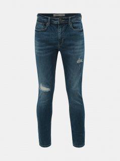 Modré skinny fit džíny s potrhaným efektem Burton Menswear London