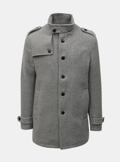 Šedý žíhaný vlněný kabát s knoflíky Selected Homme Covent