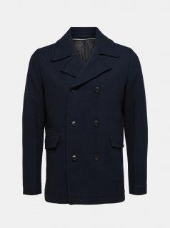 Tmavě modrý vlněný kabát Selected Homme