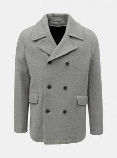Šedá vlněný kabát Selected Homme
