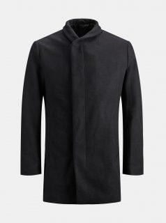 Černý vlněný kabát Jack & Jones Newgotham
