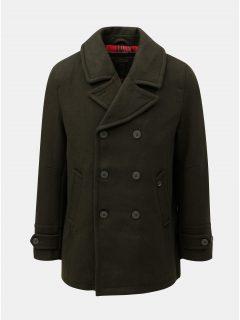Khaki vlněný kabát se zapínáním na knoflíky kabát Merc