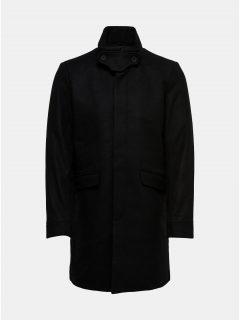 Černý vlněný kabát s odnímatelnou vsadkou u krku ONLY & SONS Severin