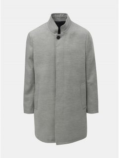 Světle šedý žíhaný kabát Burton Menswear London Funnel