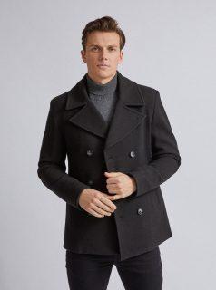 Černý kabát Burton Menswear London