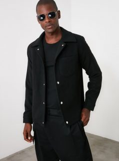 Černý pánský kabát Trendyol