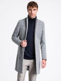 Pánský kabát C425 – šedý