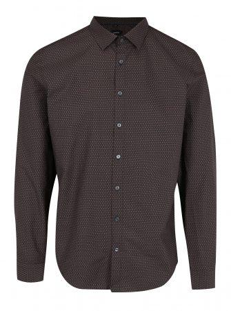Tmavě hnědá slim fit vzorovaná košile Seidensticker - Pánské košile b20296e6f3