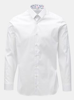 deb1f46e4a9 Bílá pánská košile se vzorovanými záplatami na loktech VAVI
