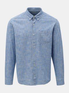 Bílo-modrá pánská kostkovaná regular fit košile s.Oliver