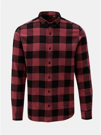 583cdbd1453 Černo-vínová kostkovaná slim košile s dlouhým rukávem ONLY   SONS Gudmund