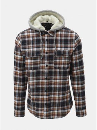 Bílo-hnědá košile s odnímatelnou kapucí s umělým kožíškem ONLY   SONS Mikkel 2759d3737c