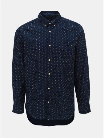 9752ab507a6 Tmavě modrá pánská vzorovaná regular fit košile GANT - Pánské košile
