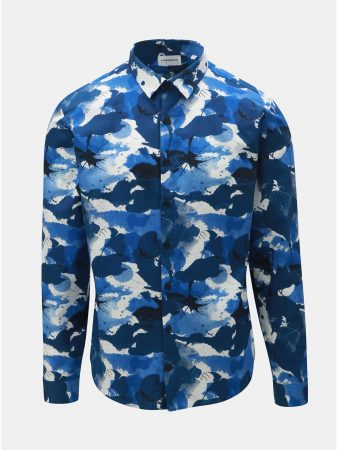 Bílo-modrá vzorovaná košile s dlouhým rukávem Lindbergh - Pánské košile 4de320ecb5