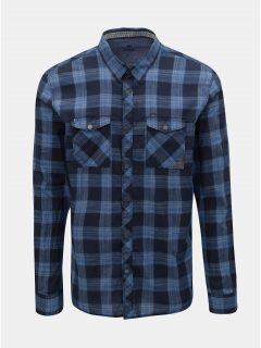 Modrá pánská kostkovaná regular fit košile s dlouhým rukávem Tom Tailor 7622fc84b9