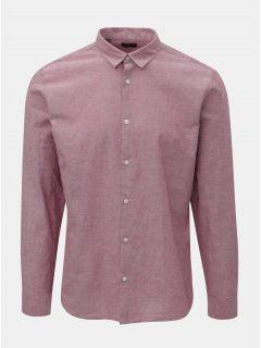 Růžová žíhaná slim fit košile s příměsí lnu Selected Homme Linen