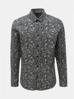 Tmavě šedá vzorovaná slim fit košile Selected Homme Neo