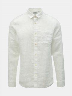 Bílá lněná slim fit košile ONLY & SONS Luke