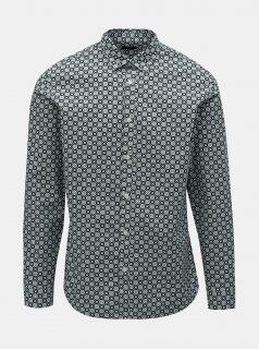Černá vzorovaná slim fit košile Selected Homme Rollo