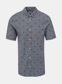 Modrá vzorovaná slim fit košile ONLY & SONS Cuton