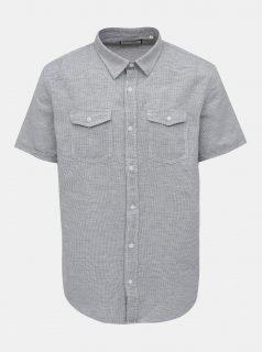 Šedá vzorovaná košile s příměsí lnu Shine Original