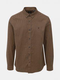 Hnědá kostkovaná slim fit košile Burton Menswear London Rust